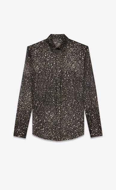 SAINT LAURENT Classic Shirts Woman Shirt with meteorite print in black, gold and silver silk crepe a_V4