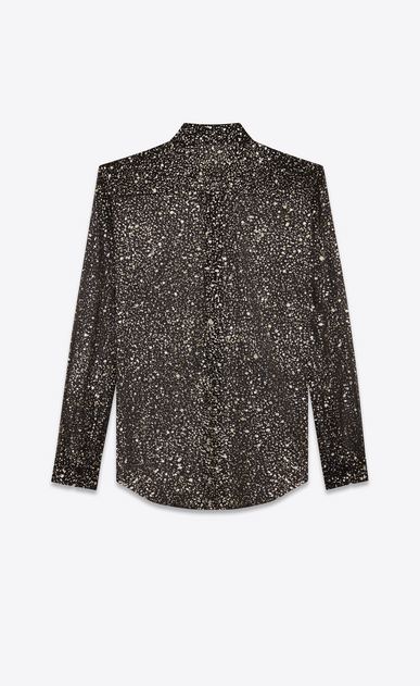 SAINT LAURENT Classic Shirts D Shirt with meteorite print in black, gold and silver silk crepe b_V4