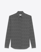 SAINT LAURENT Classic Shirts D Y-neck shirt with clover print in black and gray crepe de chine f