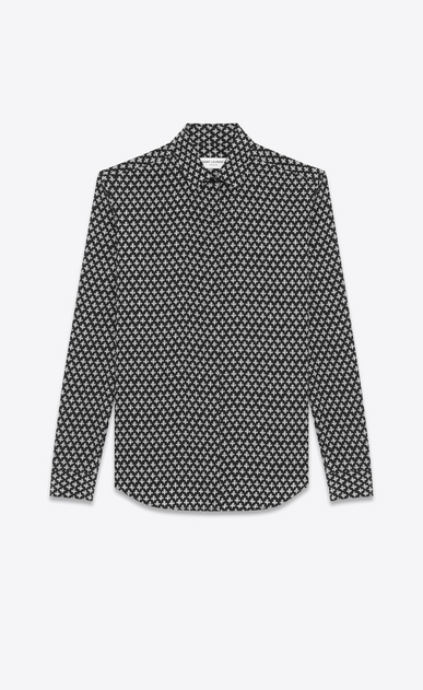 SAINT LAURENT Classic Shirts Woman Y-neck shirt with clover print in black and gray crepe de chine a_V4