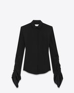 Shirt with oversized sliding sleeves in black organic crepe de chine
