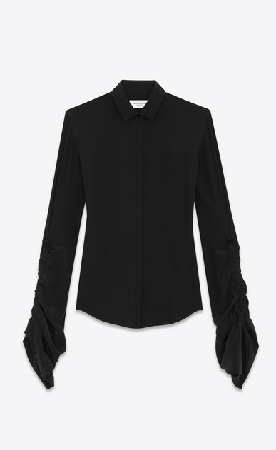 SAINT LAURENT Classic Shirts D Shirt with oversized sliding sleeves in black organic crepe de chine v4