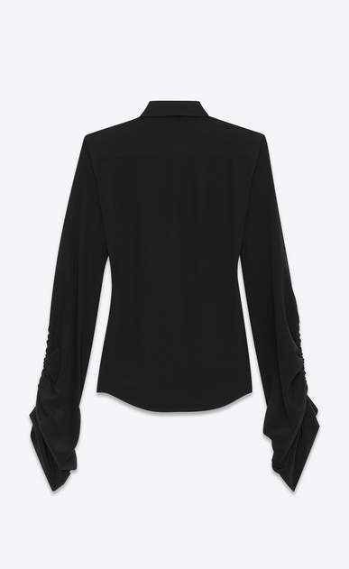 SAINT LAURENT Classic Shirts D Shirt with oversized sliding sleeves in black organic crepe de chine b_V4