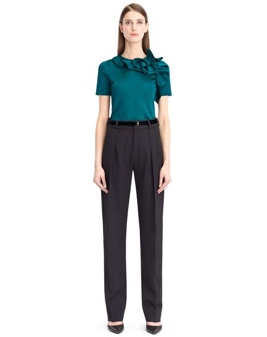 lanvin knit and frill top women