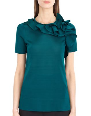 LANVIN KNIT AND FRILL TOP Top D r