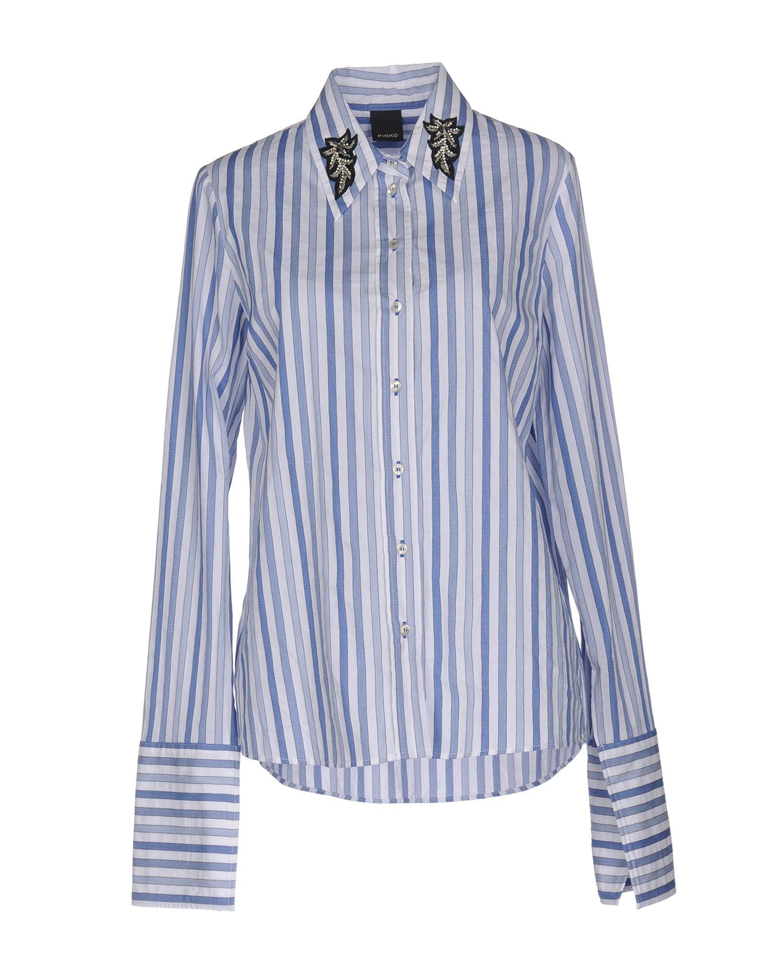 《セール開催中》PINKO レディース シャツ ブルー 42 コットン 100% / ガラス / ポリエステル