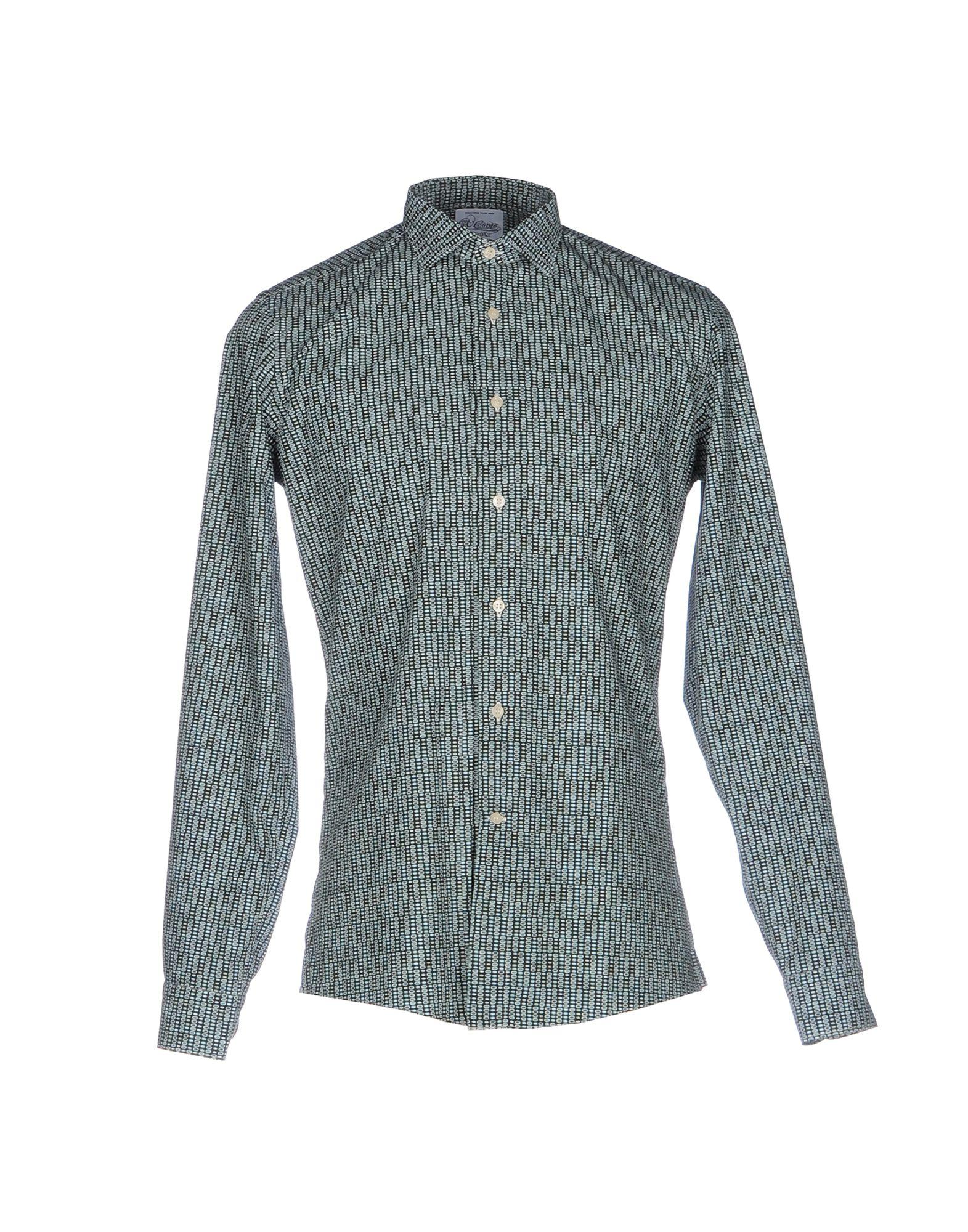 《送料無料》G.V. CONTE メンズ シャツ グリーン 40 コットン 100%
