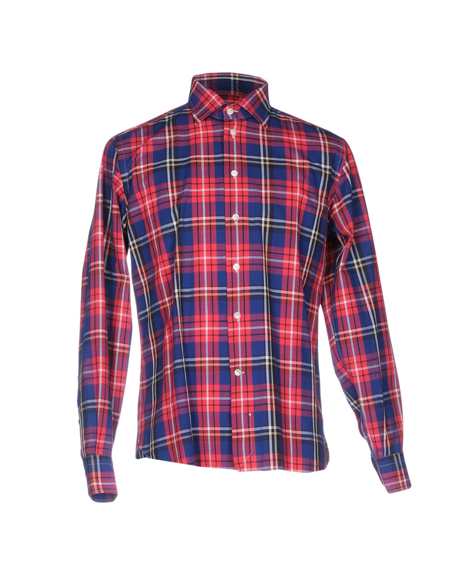 《送料無料》BRIO メンズ シャツ レッド 44 コットン 100%