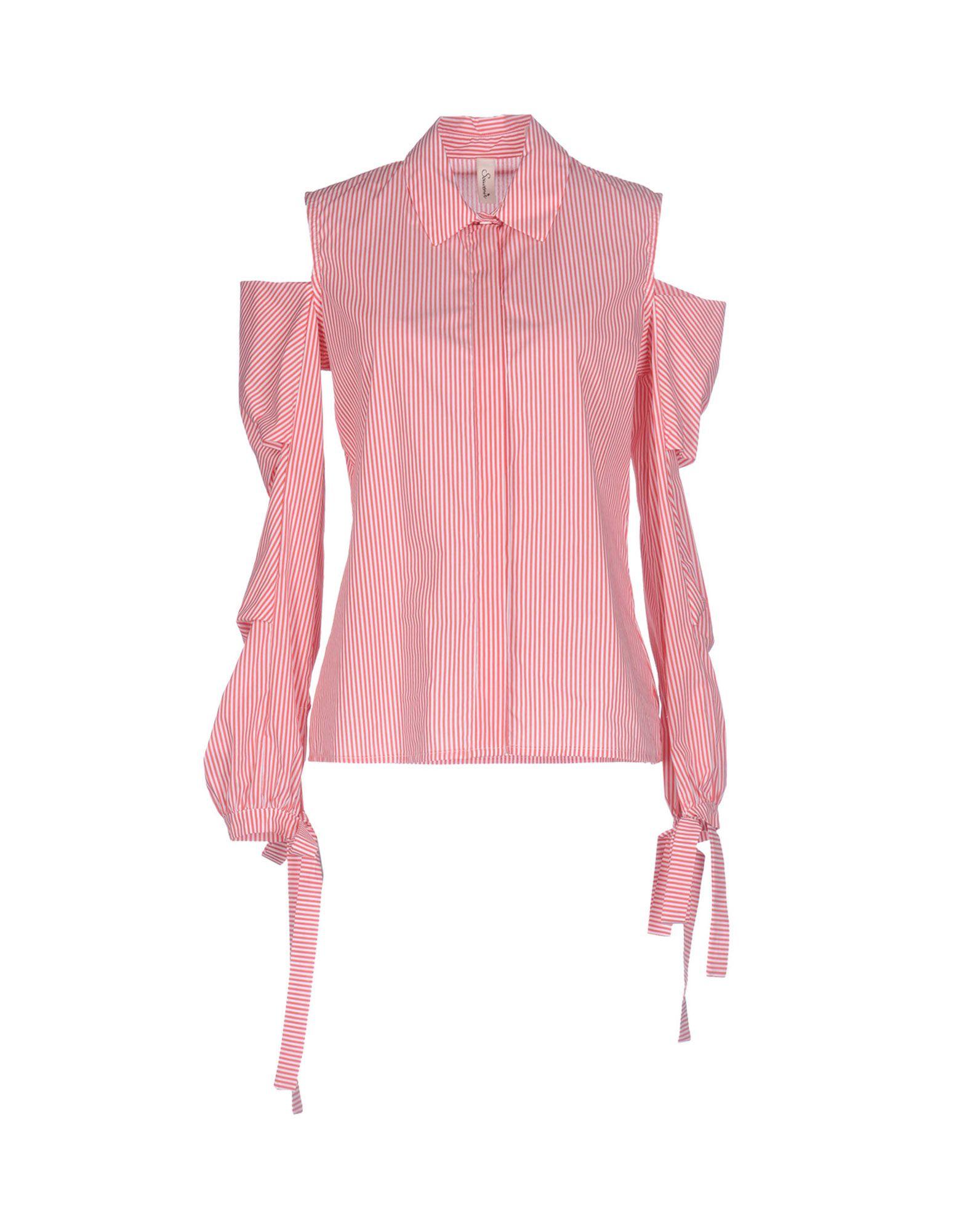 《送料無料》SOUVENIR レディース シャツ レッド M コットン 100% / ポリエステル / ポリウレタン