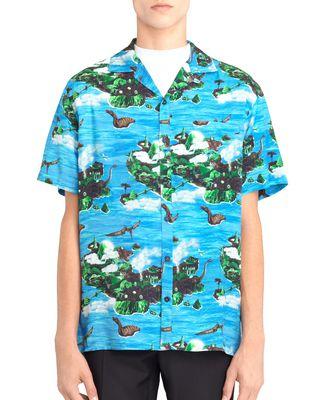 "LANVIN ""HAWAIIAN FANTASTIC"" BOWLING SHIRT Shirt U r"