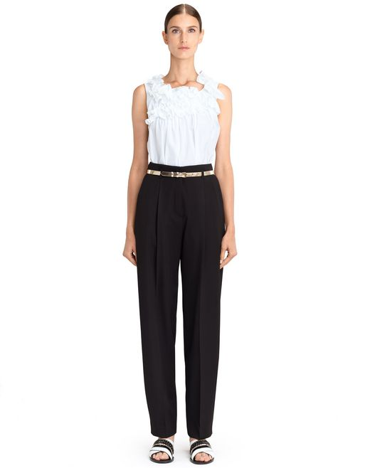 lanvin poplin frill top women