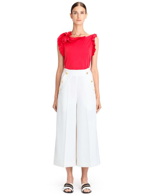lanvin red frill top women