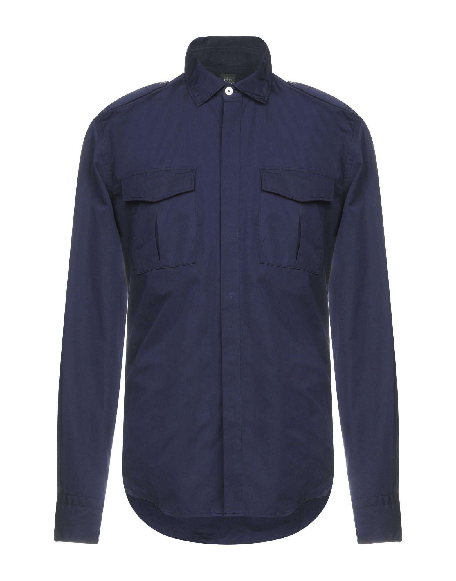 《送料無料》ELEVENTY メンズ シャツ ダークブルー 43 コットン 100%