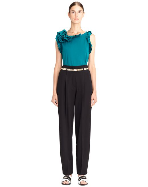 PEACOCK BLUE FRILL TOP - Lanvin