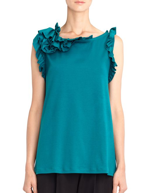 lanvin peacock blue frill top women