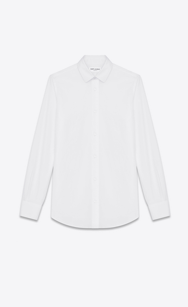 SAINT LAURENT Classic Shirts Woman paris collar shirt in white cotton poplin a_V4