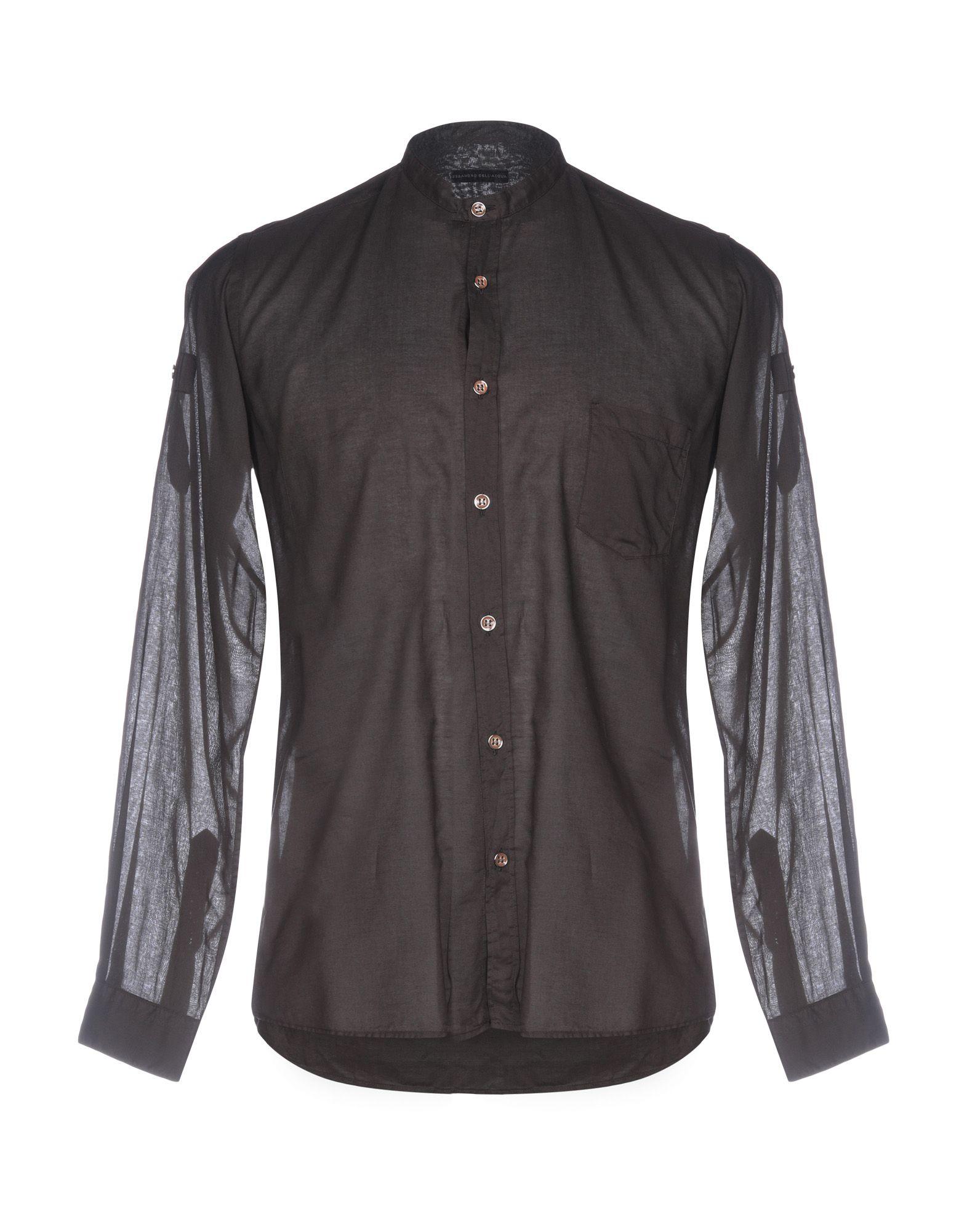 《送料無料》ALESSANDRO DELL'ACQUA メンズ シャツ ダークブラウン 39 コットン 100%