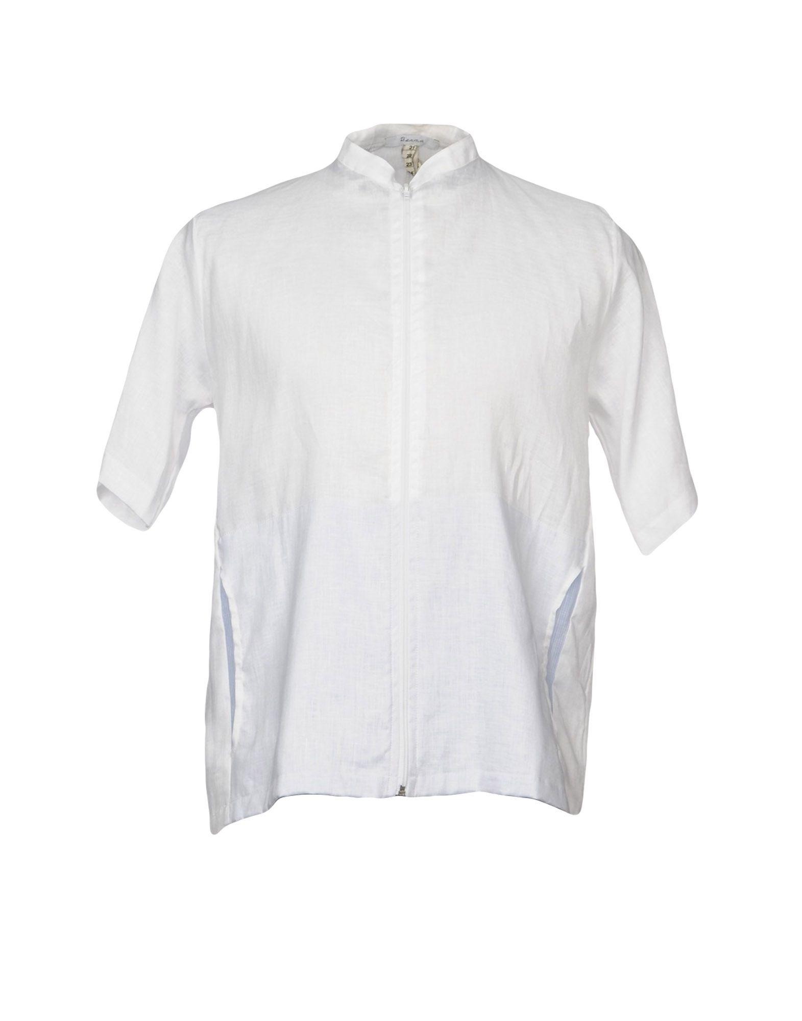 《期間限定セール中》BERNA メンズ シャツ ホワイト S 麻 100%