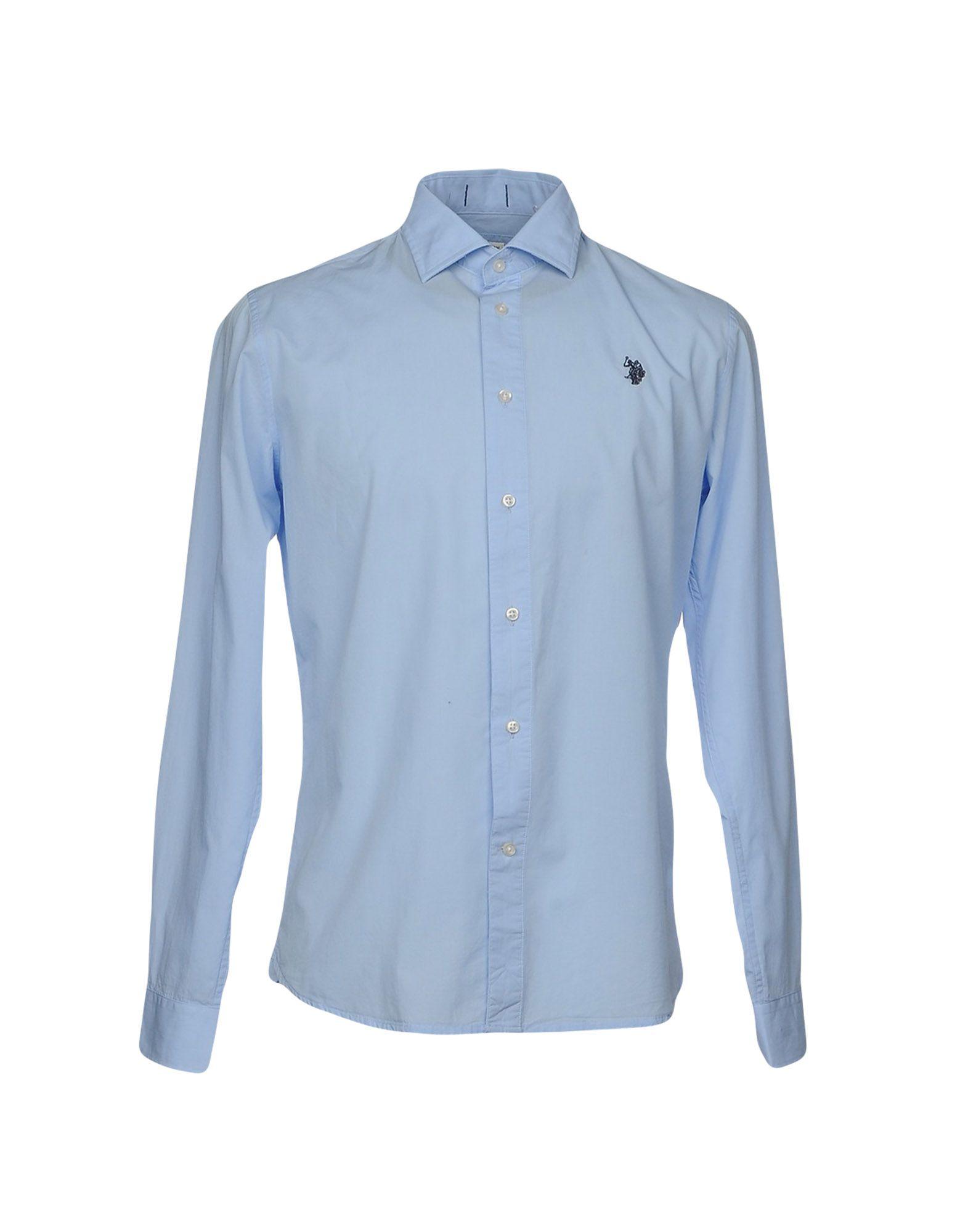 《送料無料》U.S.POLO ASSN. メンズ シャツ アジュールブルー S コットン 100%