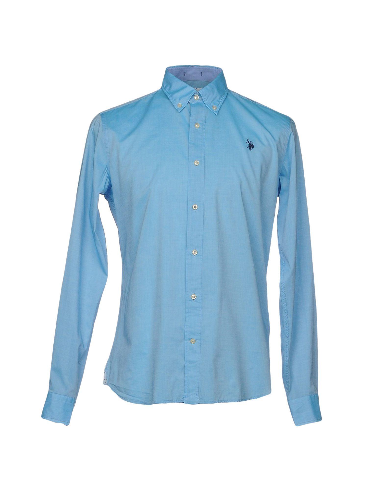 《送料無料》U.S.POLO ASSN. メンズ シャツ アジュールブルー M コットン 100%