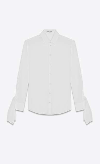 SAINT LAURENT Classic Shirts Woman Shirt with tied sleeves in off-white crepe de chine a_V4
