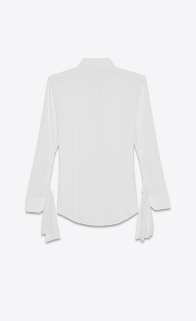 SAINT LAURENT Classic Shirts D Shirt with tied sleeves in off-white crepe de chine b_V4