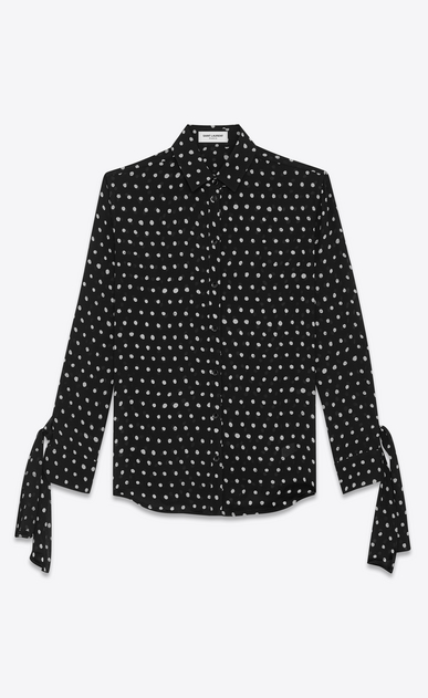 SAINT LAURENT Classic Shirts Woman Shirt with long tied sleeves in black viscose crepe with white polka dots a_V4