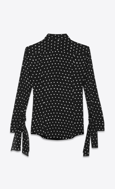 SAINT LAURENT Classic Shirts Woman Shirt with long tied sleeves in black viscose crepe with white polka dots b_V4