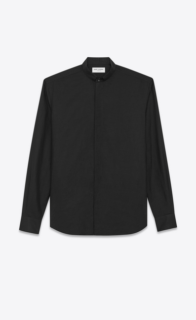 SAINT LAURENT Classic Shirts U Folded collar shirt in black cotton voile a_V4