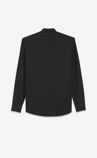 SAINT LAURENT Classic Shirts U Folded collar shirt in black cotton voile b_V4