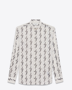 SAINT LAURENT Casual Shirts U Folded collar shirt in off-white cotton voile printed with a floral IKAT f