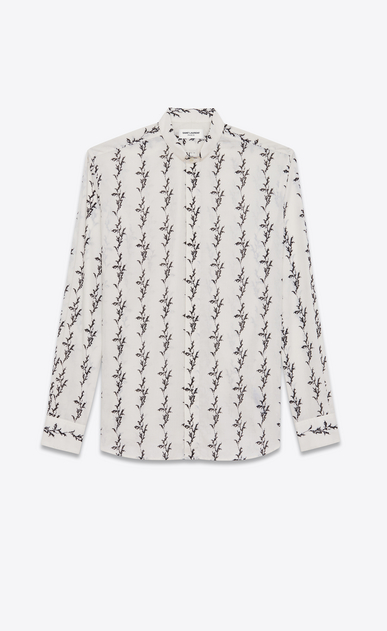SAINT LAURENT Casual Shirts Man Folded collar shirt in off-white cotton voile printed with a floral IKAT a_V4