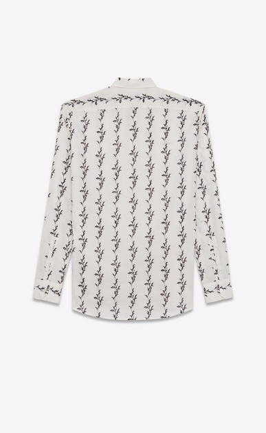 SAINT LAURENT Casual Shirts Man Folded collar shirt in off-white cotton voile printed with a floral IKAT b_V4