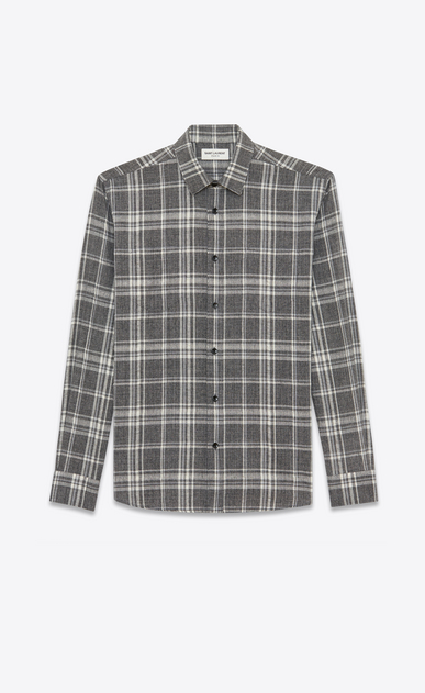 SAINT LAURENT Casual Shirts U Yves-neck shirt with patch pockets in gray madras cotton a_V4