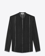 SAINT LAURENT Camicie Casual U Shirt with Tunisian collar in black and silver striped cheesecloth f
