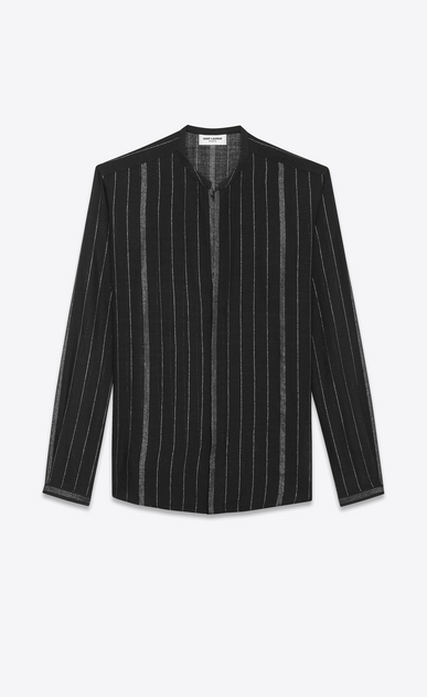 SAINT LAURENT Casual Shirts U Shirt with Tunisian collar in black and silver striped cheesecloth a_V4