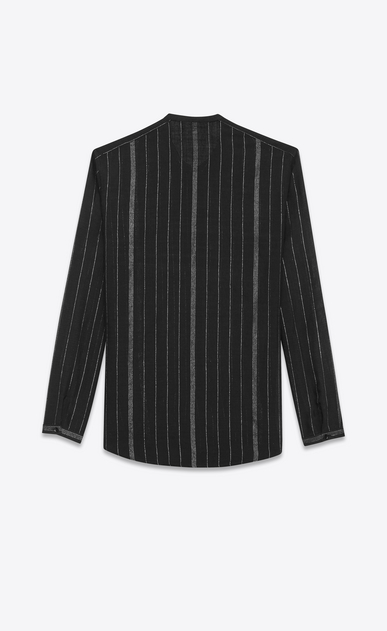 SAINT LAURENT Casual Shirts Man Shirt with Tunisian collar in black and silver striped cheesecloth b_V4