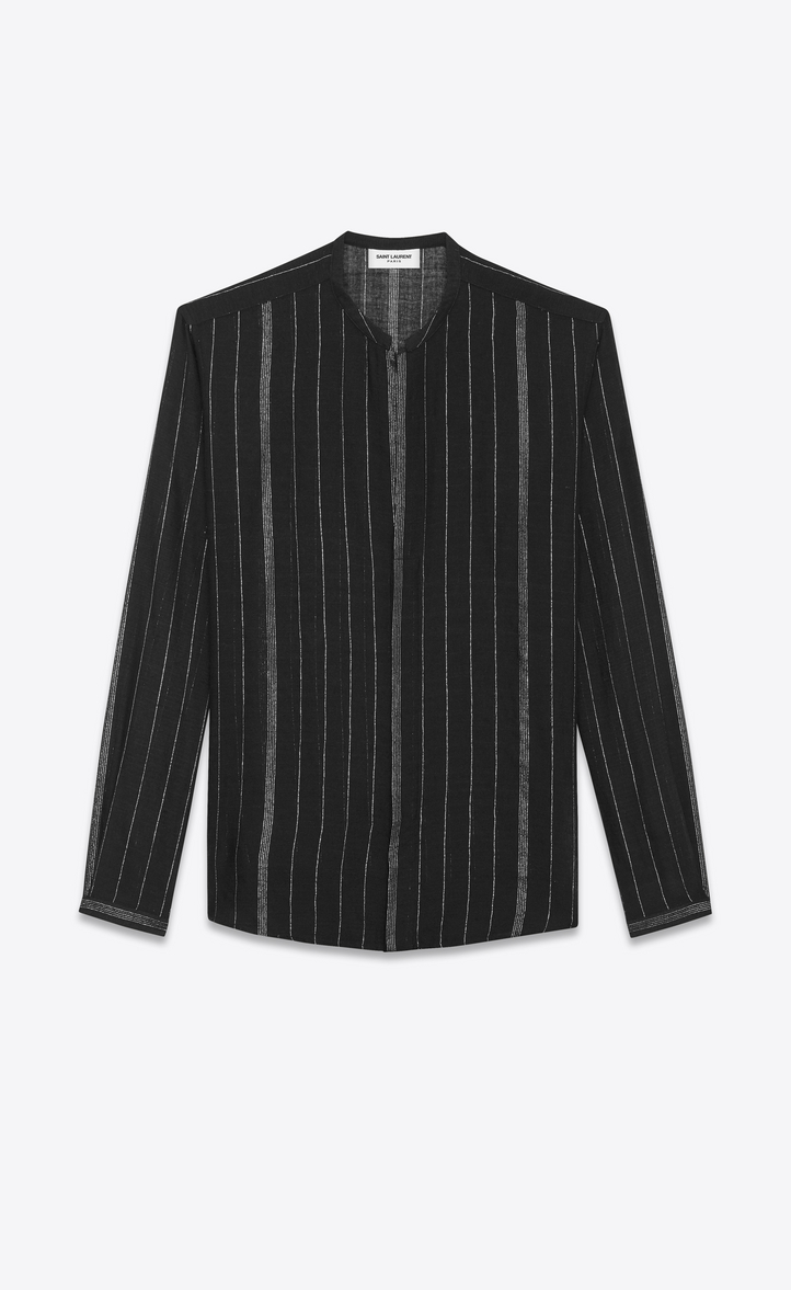 SAINT LAURENT Casual Shirts Man Shirt with Tunisian collar in black and  silver striped cheesecloth a_V4 ...