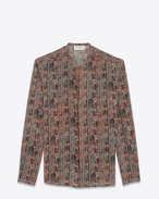 SAINT LAURENT Camicie Casual U Shirt with Tunisian collar in multicolored crepe de chine. f