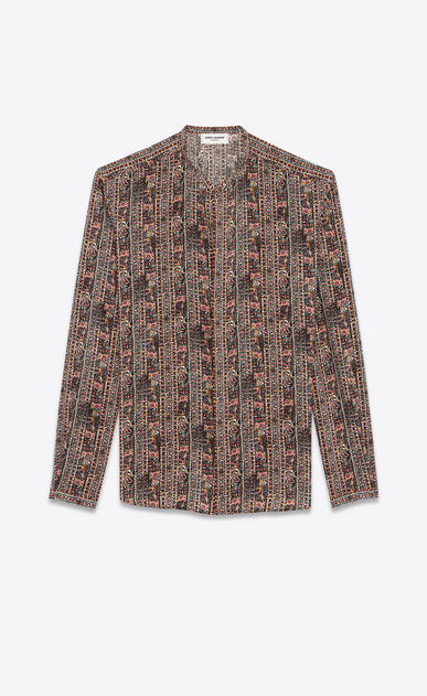 SAINT LAURENT Casual Shirts Man shirt with tunisian collar in multicolored crepe de chine a_V4