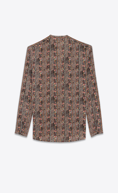 SAINT LAURENT Casual Shirts Man shirt with tunisian collar in multicolored crepe de chine b_V4