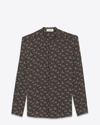 SAINT LAURENT Camicie Casual U Shirt with Tunisian collar in black paisley-print crepe de chine f