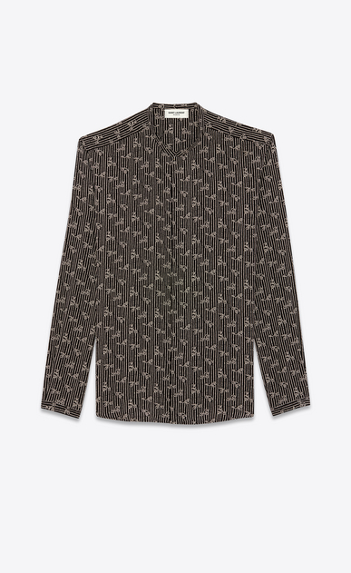 SAINT LAURENT Casual Shirts U Shirt with Tunisian collar in black paisley-print crepe de chine a_V4
