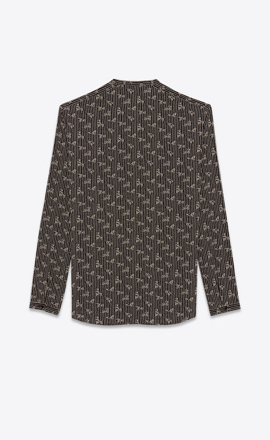 SAINT LAURENT Casual Shirts U Shirt with Tunisian collar in black paisley-print crepe de chine b_V4