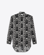 SAINT LAURENT Camicie Casual U Long Yves-neck shirt in IKAT-printed black cotton voile f