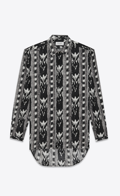 SAINT LAURENT Casual Shirts U Long Yves-neck shirt in IKAT-printed black cotton voile a_V4