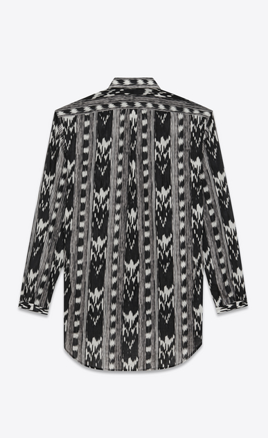 SAINT LAURENT Casual Shirts U Long Yves-neck shirt in IKAT-printed black cotton voile b_V4