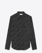 SAINT LAURENT CAMICIA Classic WESTERN U Western-style shirt in cotton and linen with jacquard pixel print f