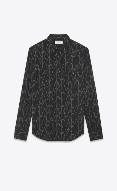 SAINT LAURENT Western Shirts Man Western-style shirt in cotton and linen with jacquard pixel print a_V4