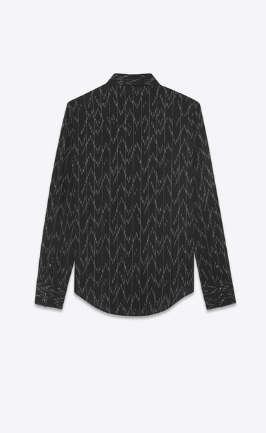 SAINT LAURENT Western Shirts U Western-style shirt in cotton and linen with jacquard pixel print b_V4